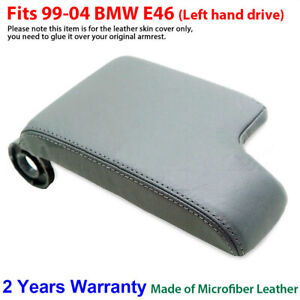 Leather Armrest Console Lid Cover Skin For Bmw E46 3 Series 1999 2005 Gray Lhd
