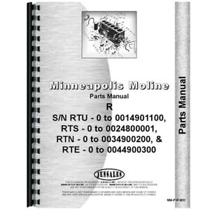 New Middle Parts Manual Made For Minneapolis Moline Tractor Model Rts