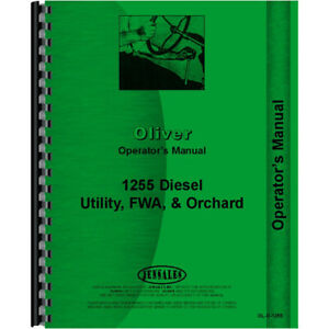 New Operators Manual For Oliver White 1255 Tractor