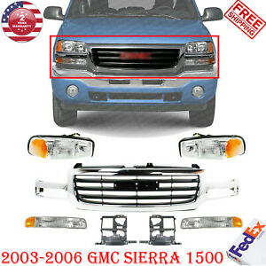 New Chrome Grille Black Insert Head Lights For 2003 2006 Gmc Sierra 1500