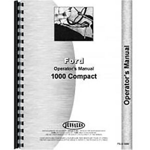 New Operators Manual Fits Ford 1000 Tractor