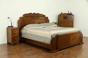 Art Deco Waterfall 1930 S Vintage 4 Pc Bedroom Set King Size Bed 32673
