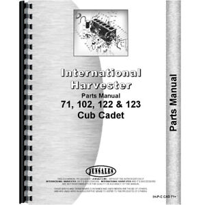 New Tractor Parts Manual For International Harvester Cub Cadet 122 Tractor