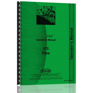New Operator Manual For Oliver hart Parr 575 Plow ol o 575 Plow