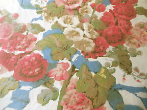 Antique Vintage Hollyhock Cottage Floral Cotton Fabric Coral Pink Blue Green