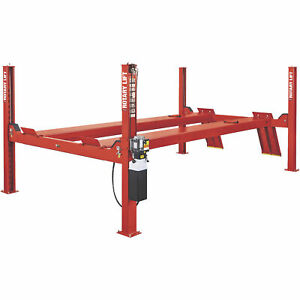 Rotary Lift 4 post Closed Front Truck Car Lift 14k lb Cap 215in Wheelbase Red