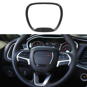 Carbon Fiber Steering Wheel Trim Ring Sticker For 2015 2019 Dodge Challenger New