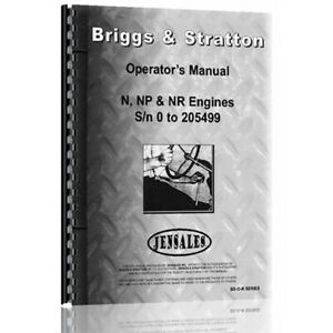 Fits Briggs And Stratton N Np Nr to 205449 46 Operator s Manual