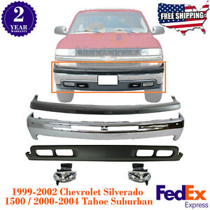 Front Bumper Kit W Fog Lights For 99 2004 Chevy Silverado 1500 Tahoe Suburban