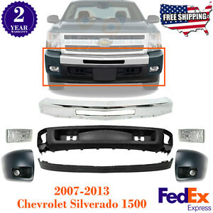Front Bumper Chrome W end Caps Valance fog For 2007 2013 Chevy Silverado 1500