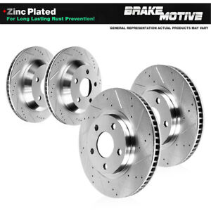 For 2015 2016 2017 Ford Mustang S550 Front And Rear Drilled Slotted Brake Rotors