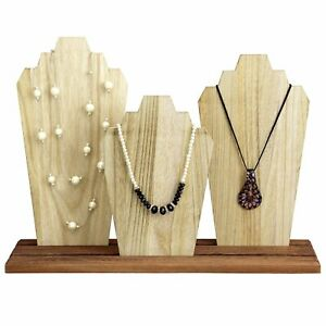 3 Piece Wooden Necklace Holder Jewelry Display Bust Stand