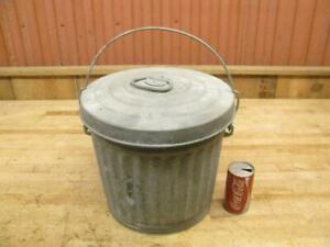 Very Nice Vintage Reeves 5 Gallon Us 1946 Ash Pail Lid Galvanized Can Bucket