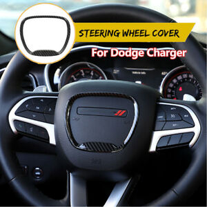 Carbon Fiber Steering Wheel Trim Ring Decal Sticker Cover For Dodge Charger2015