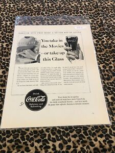 COCA COLA Ad Advertisement VINTAGE 1940 YOU TAKE IN THE MOVIES OR TAKE UP c397