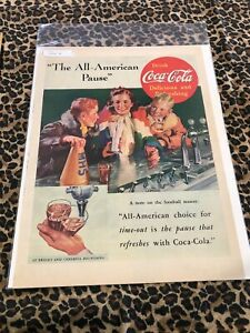 COCA COLA Ad Advertisement VINTAGE LIFE 1937 THE ALL-AMERICAN PAUSE  c387