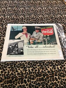 COCA COLA Ad Advertisement VINTAGE LIFE 1938 TAKE OFF AIRPORT FOUNTAIN c393