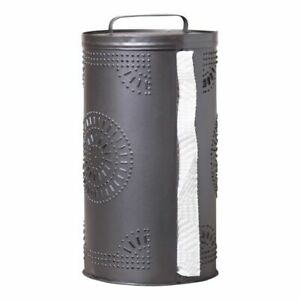 Punched Tin Paper Towel Roll Dispenser In Smokey Black Tin