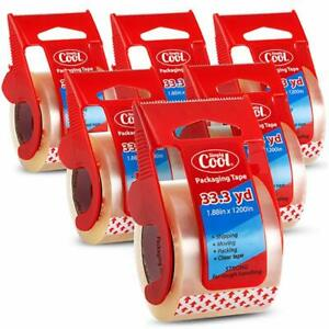 6 Rolls 33 3 Yd Carton Sealing Shipping Packaging Packing Tape With Dispenser