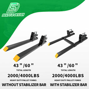 2000lb 4000lb Tractor Pallet Forks Bucket Clamp On For Backhoe skid Steer Loader