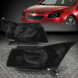 For 11 15 Chevy Cruze Smoked Housing Clear Corner Headlight Replacement Lamps