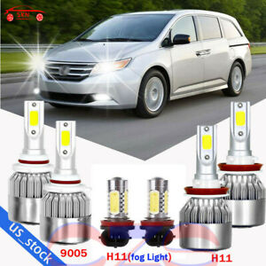 For Honda Odyssey 2011 2017 Combo Led Headlight Fog Lights 6 Bulbs Kit 6000k