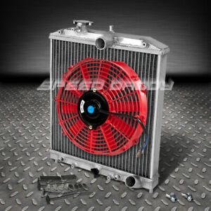2 row Aluminum Racing Radiator 12 Red Fan 92 00 Civic Eg del Sol 01 Integra At
