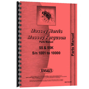 Tractor Parts Manual For Massey Ferguson 55 For Massey Harris 55 Diesel
