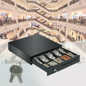 Cash Drawer Box 5 Bill And 5 Coin Tray Heavy Duty Compact Black Us Stock