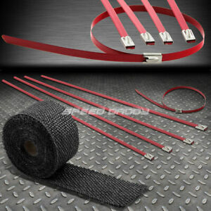 15ft 180 l 2 w Exhaust Intake Header Black Heat Wrap stainless Red Zip Tie
