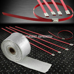 15ft 180 l 2 w Exhaust Intake Header Aluminum Heat Wrap stainless Red Zip Tie