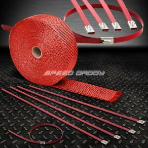 32 10m 2 w Cat Back Exhaust Header Red Heat Wrap stainless Zip Tie Cable
