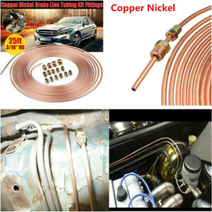 Copper Nickel Car Brake Line Tubing Kit 3 16 Od 25 Ft Coil Rolls With Fittings