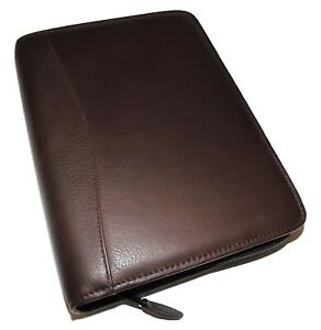 Scully Nappa Leather 7 Ring Zippered Weekly monthly Planner Agenda Chocolate