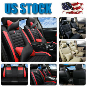 Us Deluxe Leather 5 seats Full Set Auto Car Seat Cover pillows Full Surrounded