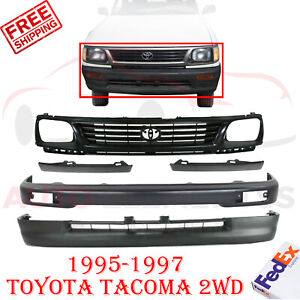 Front Bumper Primed Steel Cover Filler Grille For 95 97 Toyota Tacoma 2wd