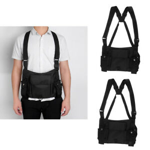 2 Two Way Radio Chest Harness Bag Holster Vest Rig For Rescue Camping Hiking