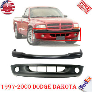 Front Bumper Primed Steel With Fog Light Holes cover For 1997 2000 Dodge Dakota
