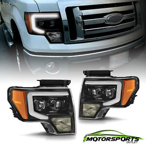 For 2009 2014 Ford F 150 Led Tube Bar Projector Polish Black Headlights Pairs
