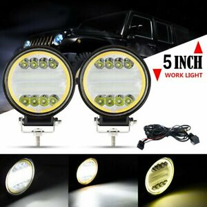 2x 5 Cree Led Work Lights Bar Spot Flood Beam Offroad Driving Light Pods wire
