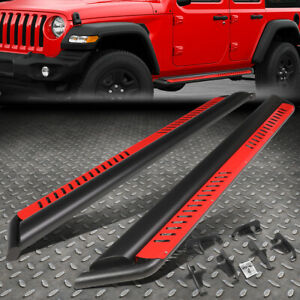 For 18 20 Jeep Wrangler Jl Side Nerf Bar Running Board W red Dropped Step Plate