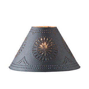 Country New 12 Textured Black Punched Tin Lamp Shade