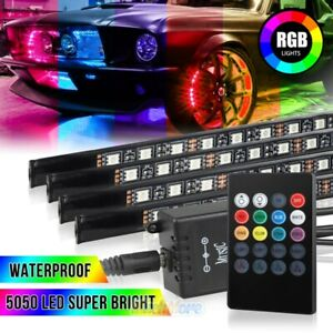 4x 8color Rgb Led Strip Under Car Tube Underglow Underbody System Neon Light Kit