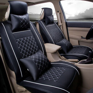 5 seats Car Auto Seat Covers Suv Pu Leather Full Front Rear W neck Lumbar Pillow