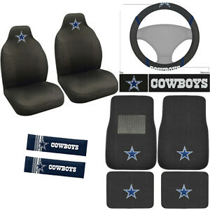 9pc Set Nfl Dallas Cowboys Car Front Rear Floor Mats Steering Wheel Cover