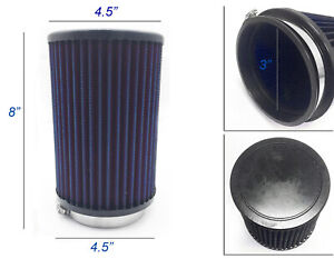 Tall Blue 3 Inch 3 76mm Cold Air Intake Cone Filter Universal Fit Fitment