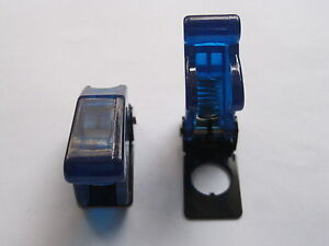 12 Pcs Transparent Blue Safety Flip Cover For Toggle Switch Used New