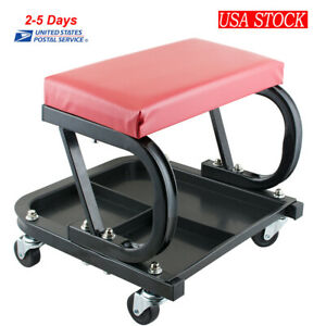 Best Mechanics Rolling Shop Seat Creeper Stool Tool Storage Tray Portable New