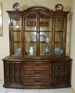 Vintage Lane Furniture Lighted China Cabinet Matching Buffet Table
