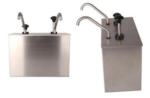 2 Bucket Sauce Dispenser Pump Squeeze Condiment Dispensing Stainless Steel Ex